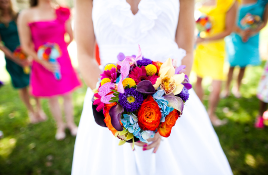 vibrant-bright-bridal-bouquets-colorful-mix-and-match-bridesmaid-dresses.original